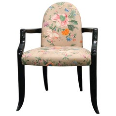 Postmodern Wendell Castle Mammoth Tusk Round Back Floral Armchair, 1983