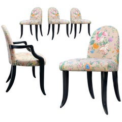 Postmodern Wendell Castle Mammoth Tusk Roundback Dining Chair, Floral Round-back