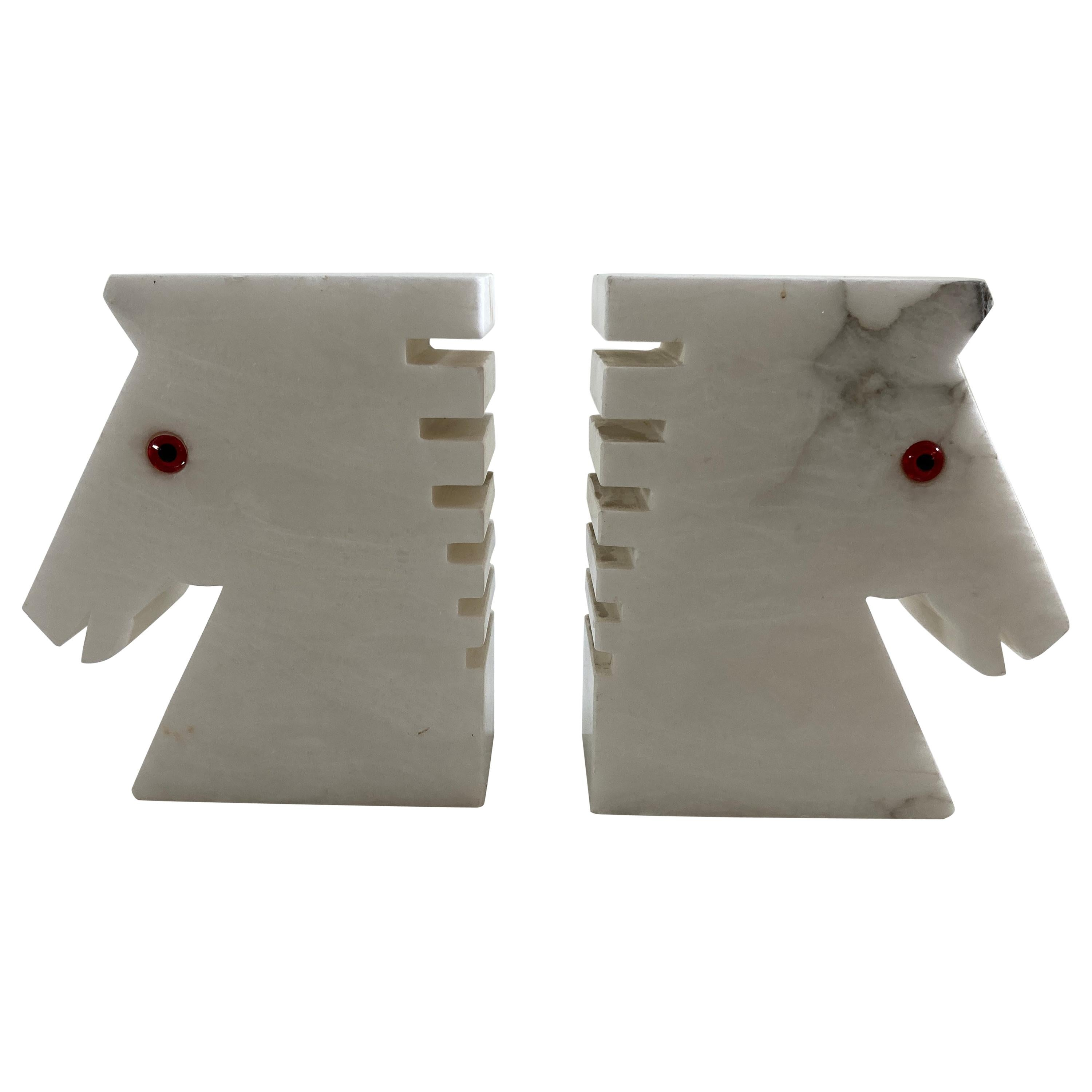 Postmodern White Alabaster Horse Bust Bookends