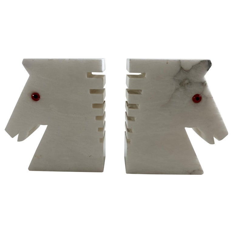Postmodern White Alabaster Horse Bust Bookends For Sale