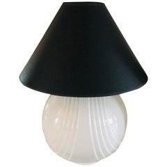 Large Postmodern White Ceramic Spherical Lamp with Black Shade, 1990s