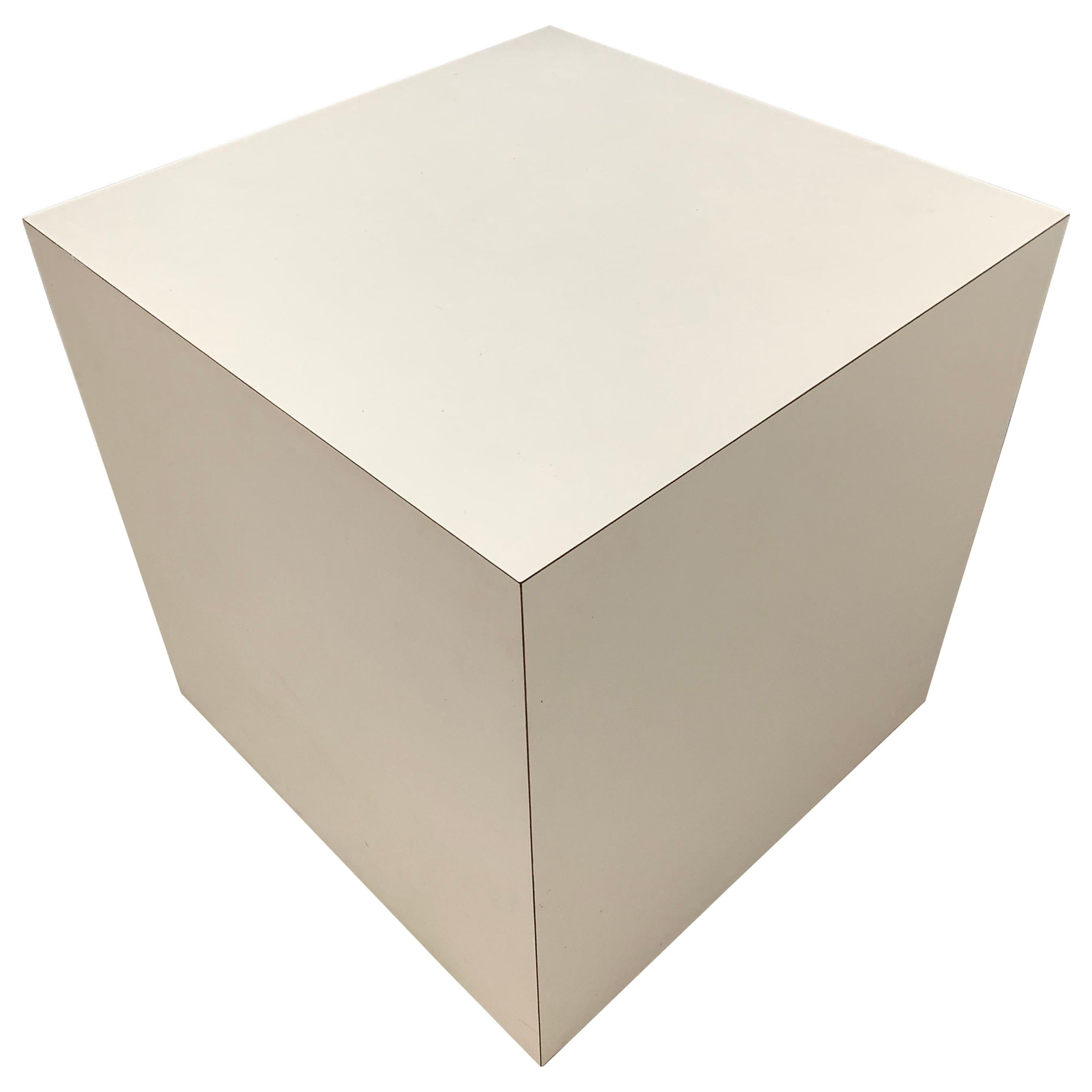 Postmodern White Laminate Cube Side End or Occasional Table