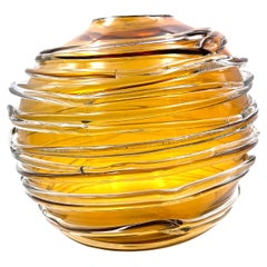 Postmodern Yellow & Clear Crystal Globe Vase by William Yeoward