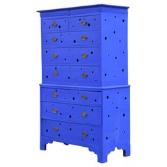 Postmodern Yves Klein Blue Refinished George III Style Chippendale Chest
