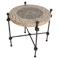 Postwar Period Forge Round Tiles Marble Black Brown French Side Table, 1940