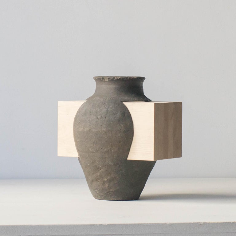 Japonisme Pot and Wood Abstract Sculpture Contemporary Zen Japonism Style For Sale