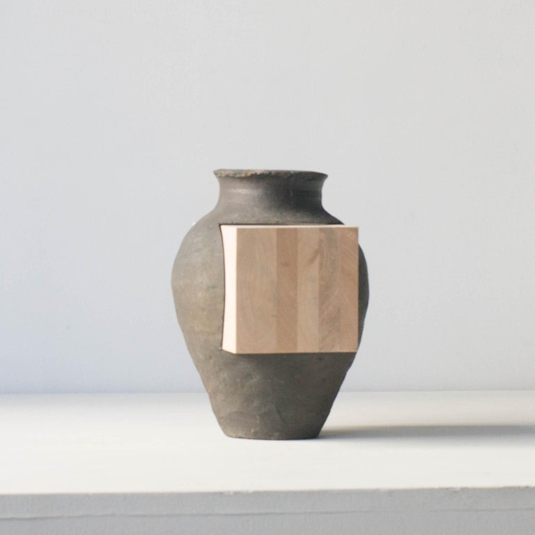Japanese Pot and Wood Abstract Sculpture Contemporary Zen Japonism Style For Sale