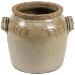 19th Century English Antique Clay Pot with Handles