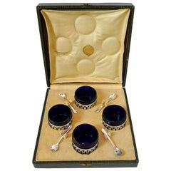 Pot French Sterling Silver Four Salt Cellars, Original Cobalt Liners, Spoons Box