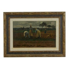"""Potato Pickers"" Landscape Barbizon Painting by Carleton Wiggins 'American'"