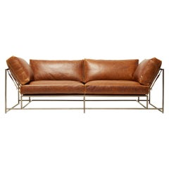 Potomac Leather and Antique Nickel Two-Seat Sofa with Off-White Belting