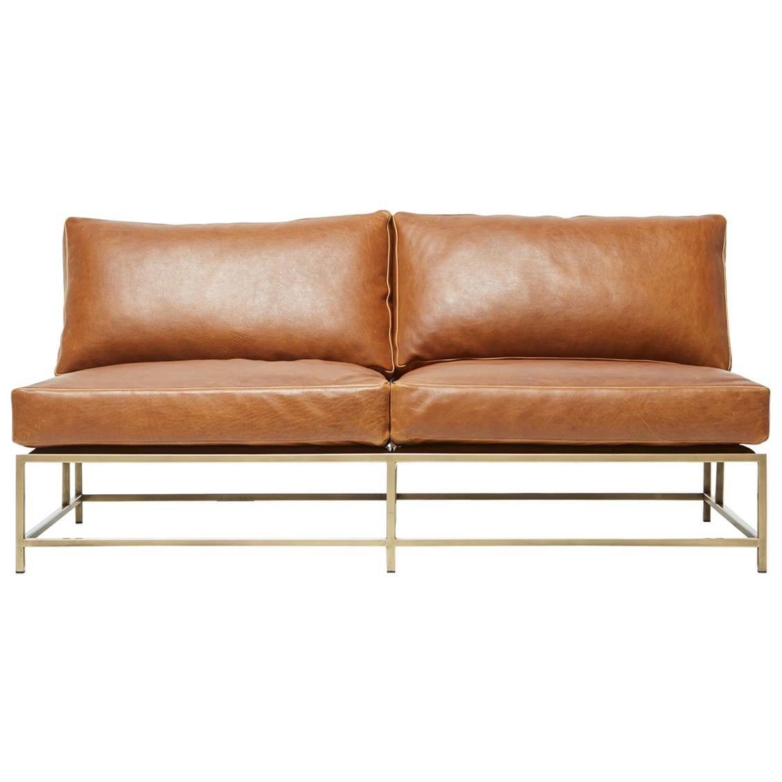 Potomac Tan Leather and Antique Brass Loveseat
