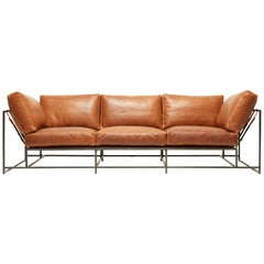 Potomac Tan Leather and Blackened Steel Sofa