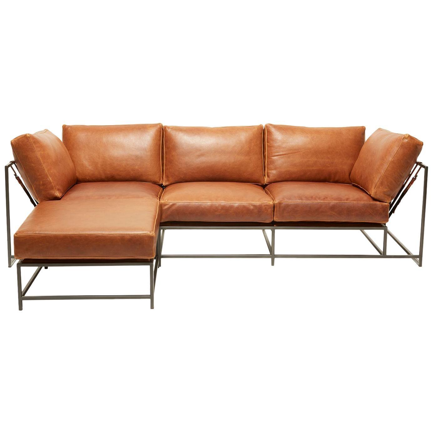 Potomac Tan Leather and Blackened Steel Sofa with Ottoman