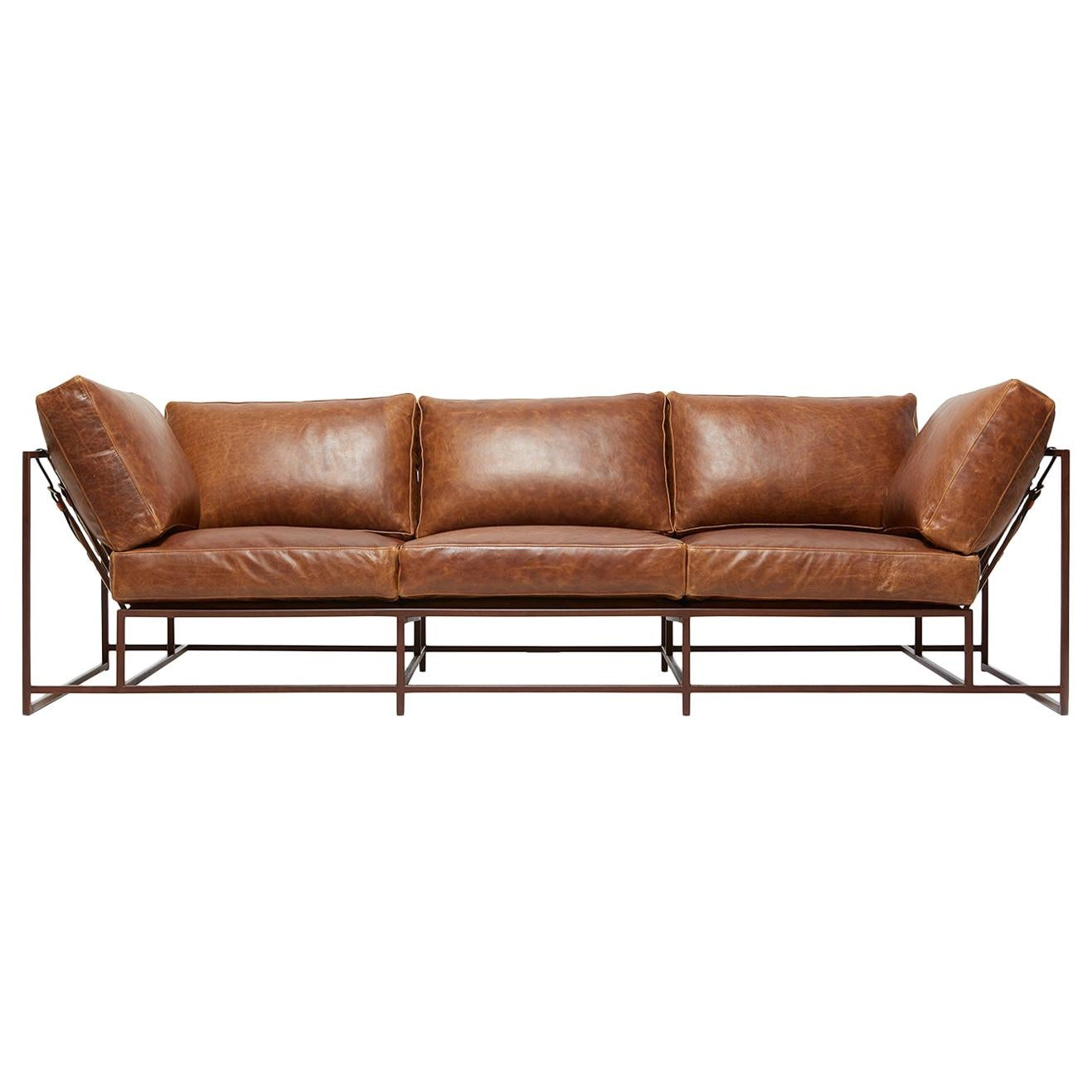 Potomac Tan Leather and Marbled Rust Sofa