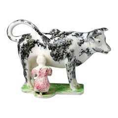 Pottery Cow Creamer with Milkmaid English Antique Period Early 19th Century