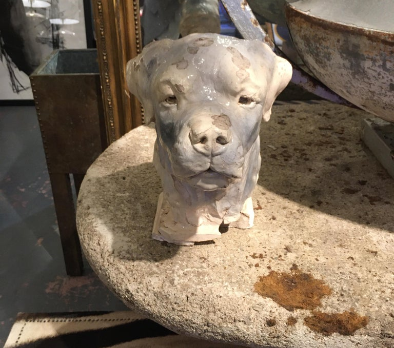 Pottery Dog Sculpture In Fair Condition For Sale In Seattle, WA