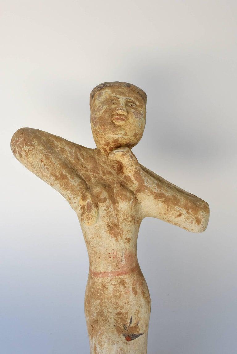 Pottery Figure Dancer, Han Style Terracotta For Sale 13