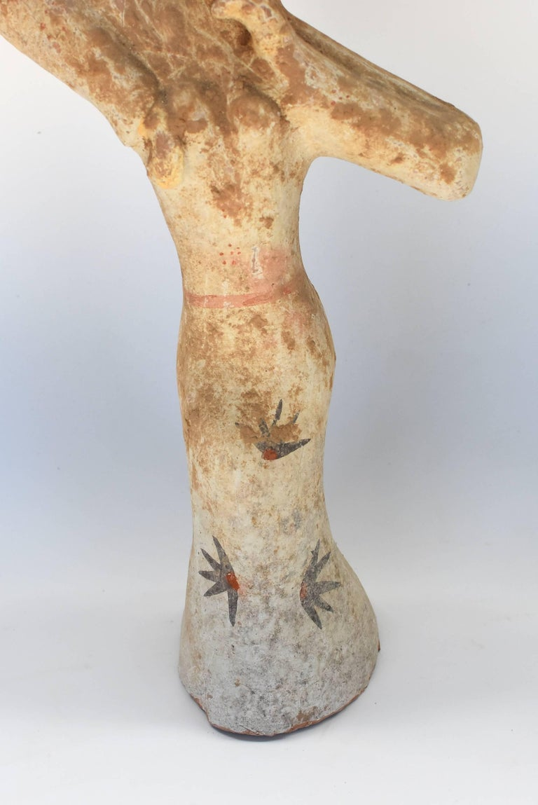 Pottery Figure Dancer, Han Style Terracotta In Good Condition For Sale In Somis, CA