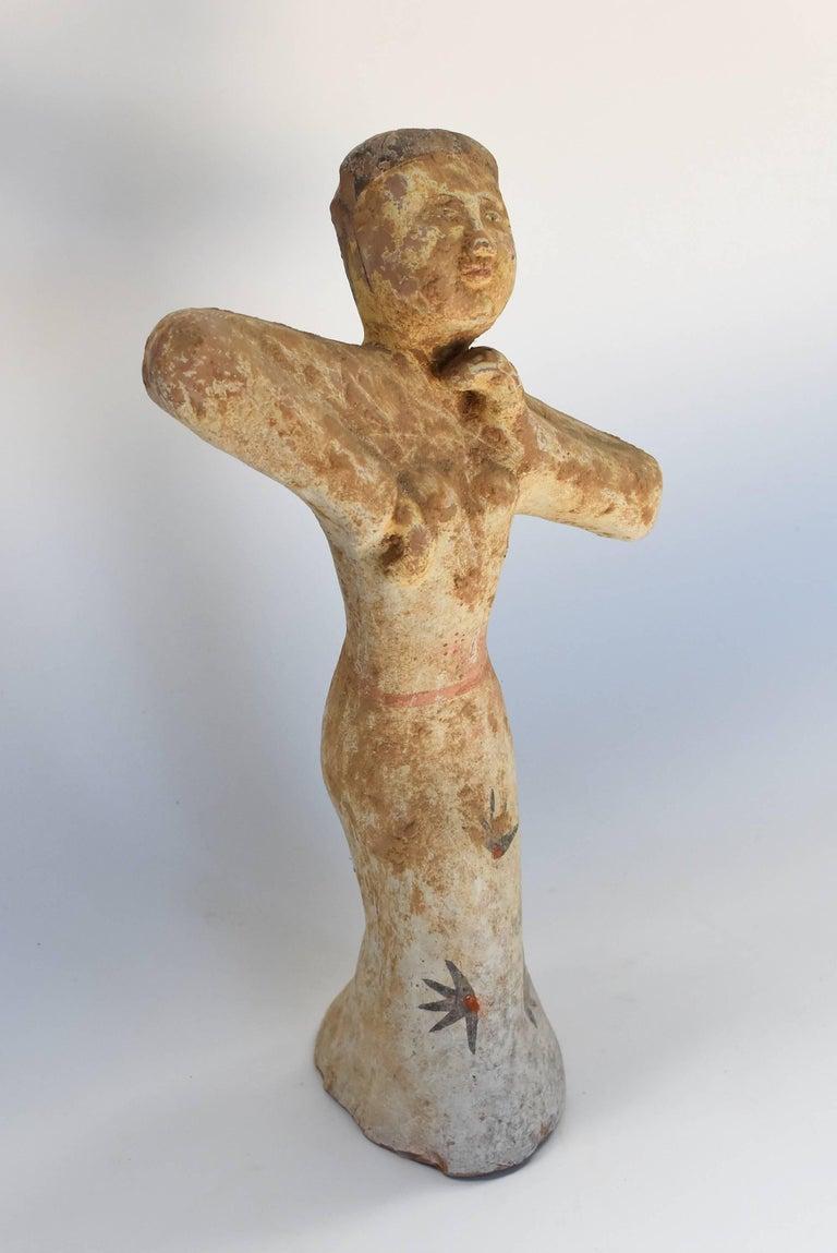 Pottery Figure Dancer, Han Style Terracotta For Sale 2
