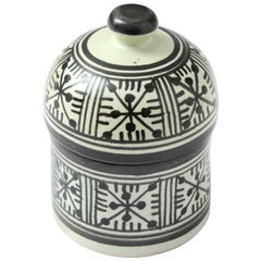 Pottery from Morocco, Cream and Black Color, Handcrafted, Contemporary
