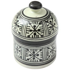 Pottery from Morocco, Cream and Black Color, Handcrafted, Contemporary, New