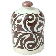 Pottery from Morocco, Cream and Burgundy Color, Handcrafted, Contemporary, New