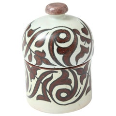 Pottery from Morocco, Cream and Burgundy Color, Handcrafted
