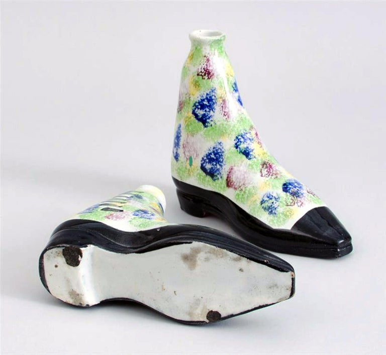 19th Century Pottery Pearlware Sponged Spirit Flasks Modeled in Form of Boots, Scottish For Sale
