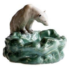 Pottery Polar Bear Bowl or Ashtray from Ditmar Urbach Czechoslovakia, 1930s