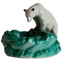 Pottery Polar Bear Bowl or Ashtray, Czechoslovakia, 1930s