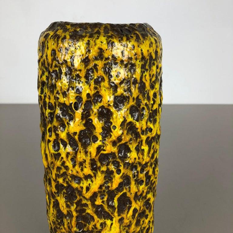 Pottery Super Yellow Color Fat Lava Multi-Color Vase Scheurich WGP, 1970s For Sale 3