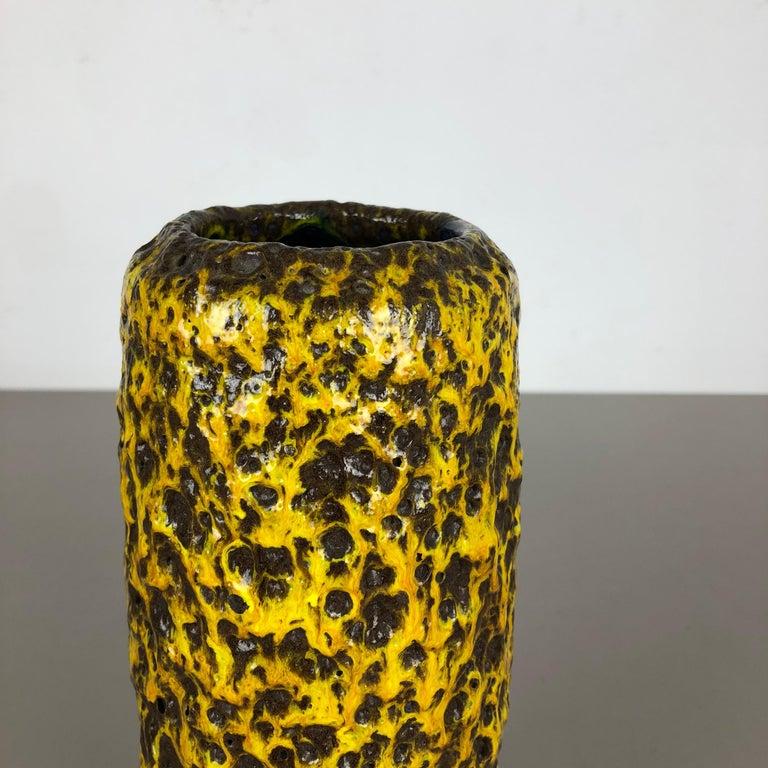 Pottery Super Yellow Color Fat Lava Multi-Color Vase Scheurich WGP, 1970s For Sale 4