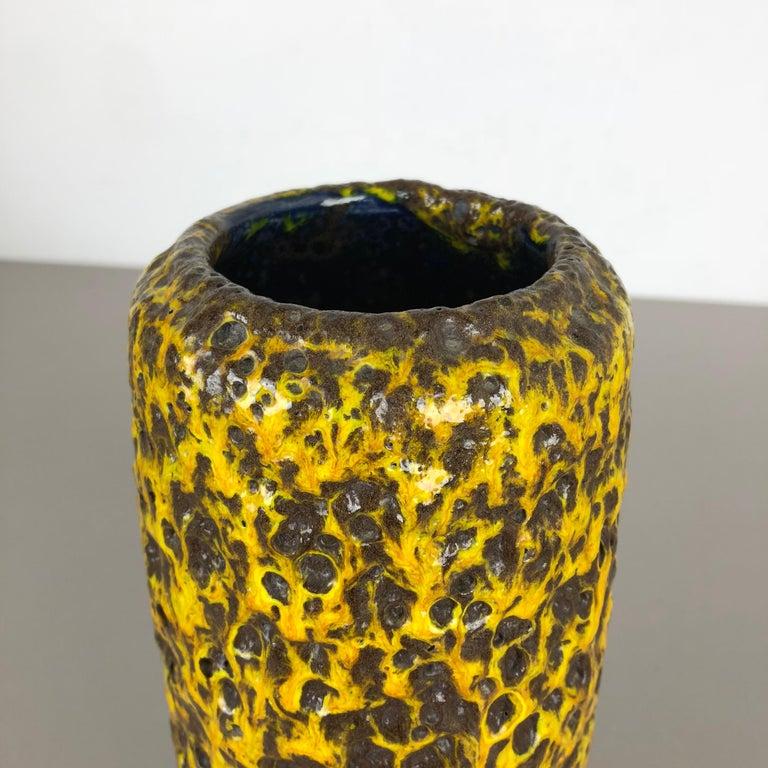 Pottery Super Yellow Color Fat Lava Multi-Color Vase Scheurich WGP, 1970s For Sale 7