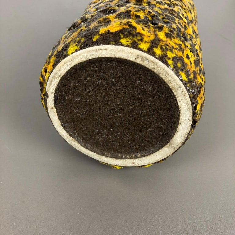 Pottery Super Yellow Color Fat Lava Multi-Color Vase Scheurich WGP, 1970s For Sale 12