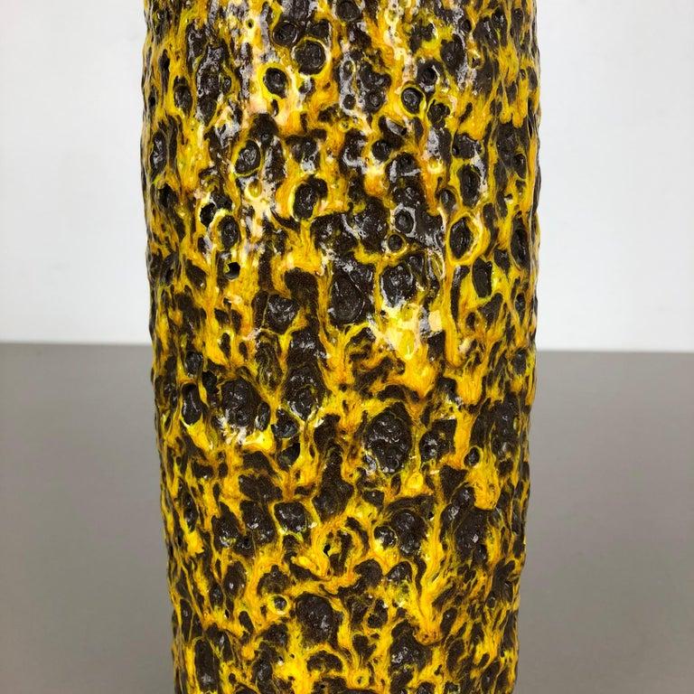 20th Century Pottery Super Yellow Color Fat Lava Multi-Color Vase Scheurich WGP, 1970s For Sale