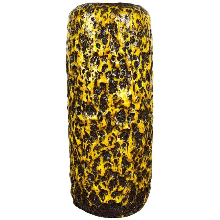 Pottery Super Yellow Color Fat Lava Multi-Color Vase Scheurich WGP, 1970s For Sale