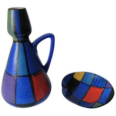Pottery Vase and Plate by Bodo Mans for BAY Keramik