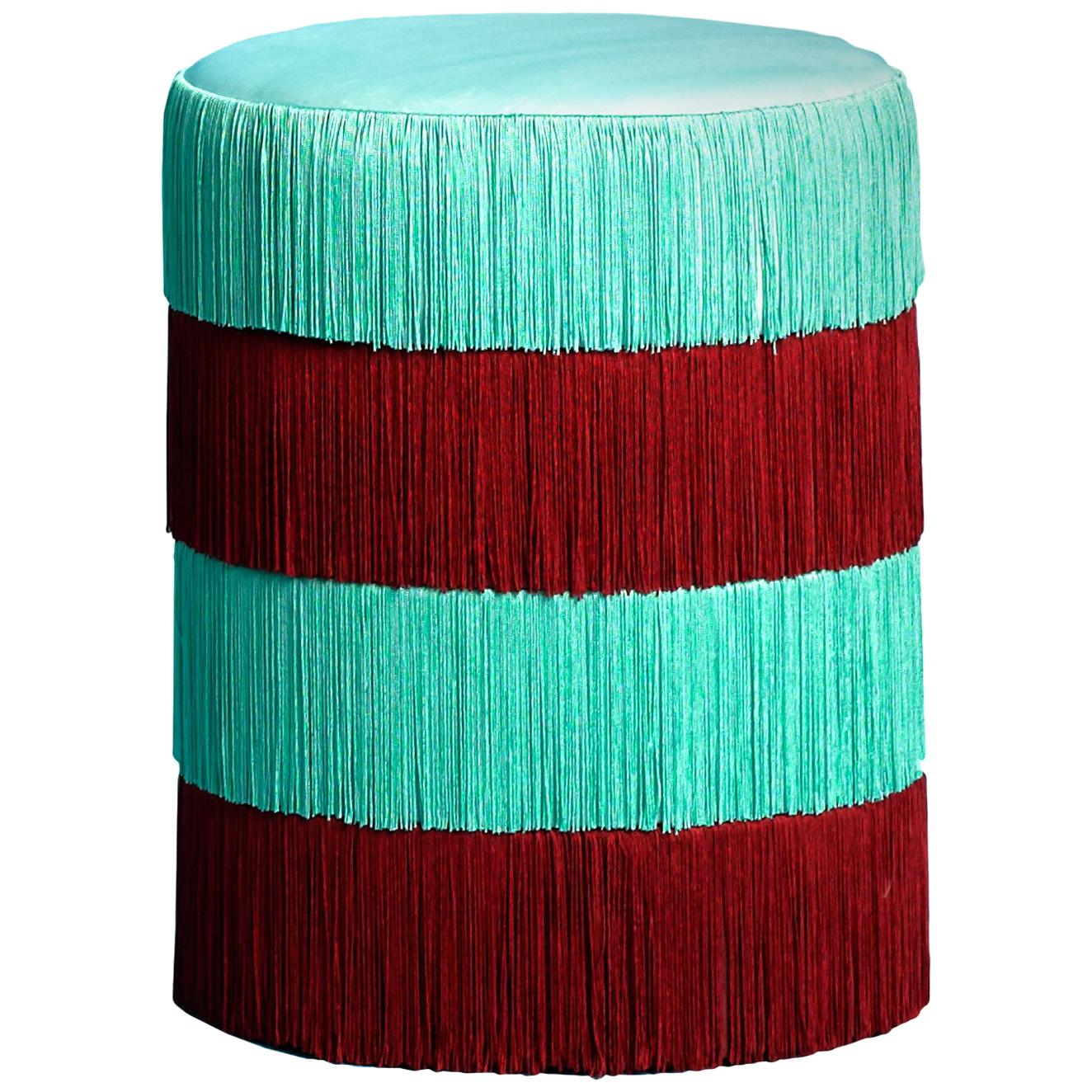 Pouf Chachachá Aquamarine & Bordeaux with Fringes