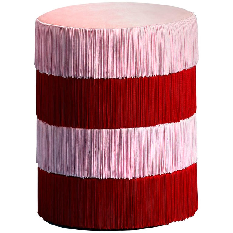 Pouf Chachachá Pink & Red with Fringes For Sale