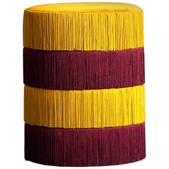 Pouf Chachachá Yellow and Purple with Fringes