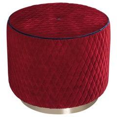 Pouf Kidman, Red Velvet Fabric, Made in Italy
