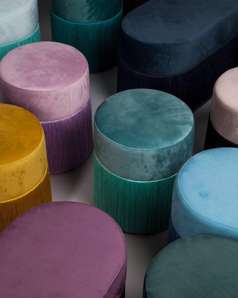 Spanish Pouf Pill Blue in Velvet Upholstery with Fringes For Sale