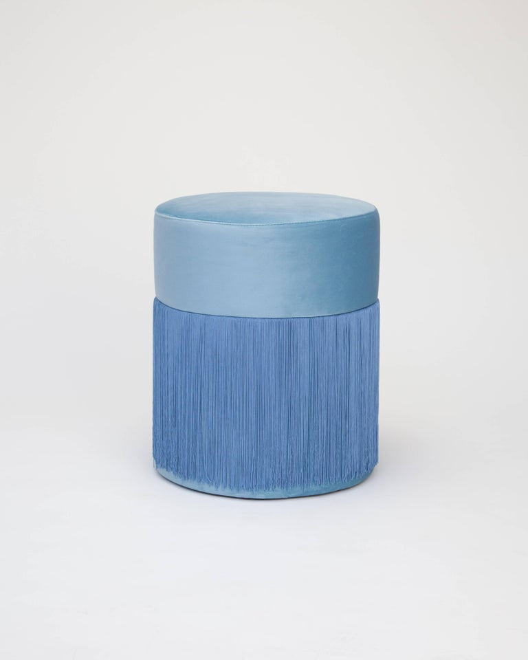 Pouf Pill Blue in Velvet Upholstery with Fringes In New Condition For Sale In Firenze, IT