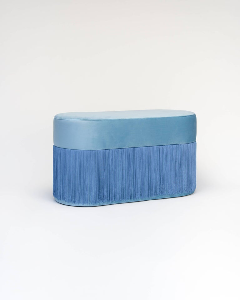 Other Pouf Pill Large Blue in Velvet Upholstery with Fringes For Sale