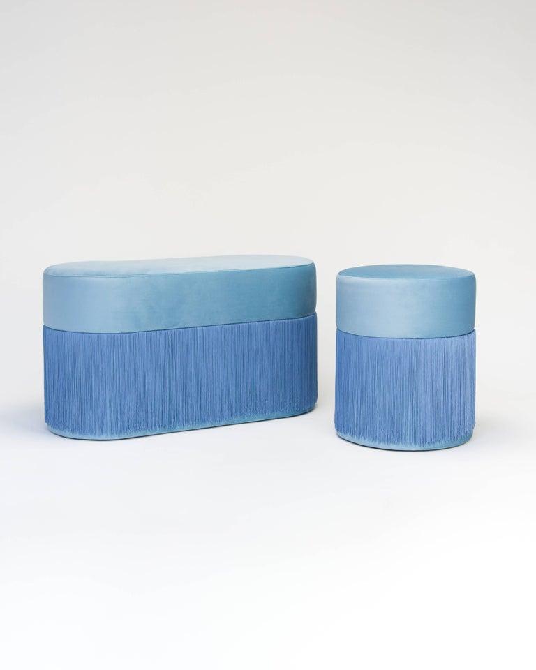Spanish Pouf Pill Large Blue in Velvet Upholstery with Fringes For Sale
