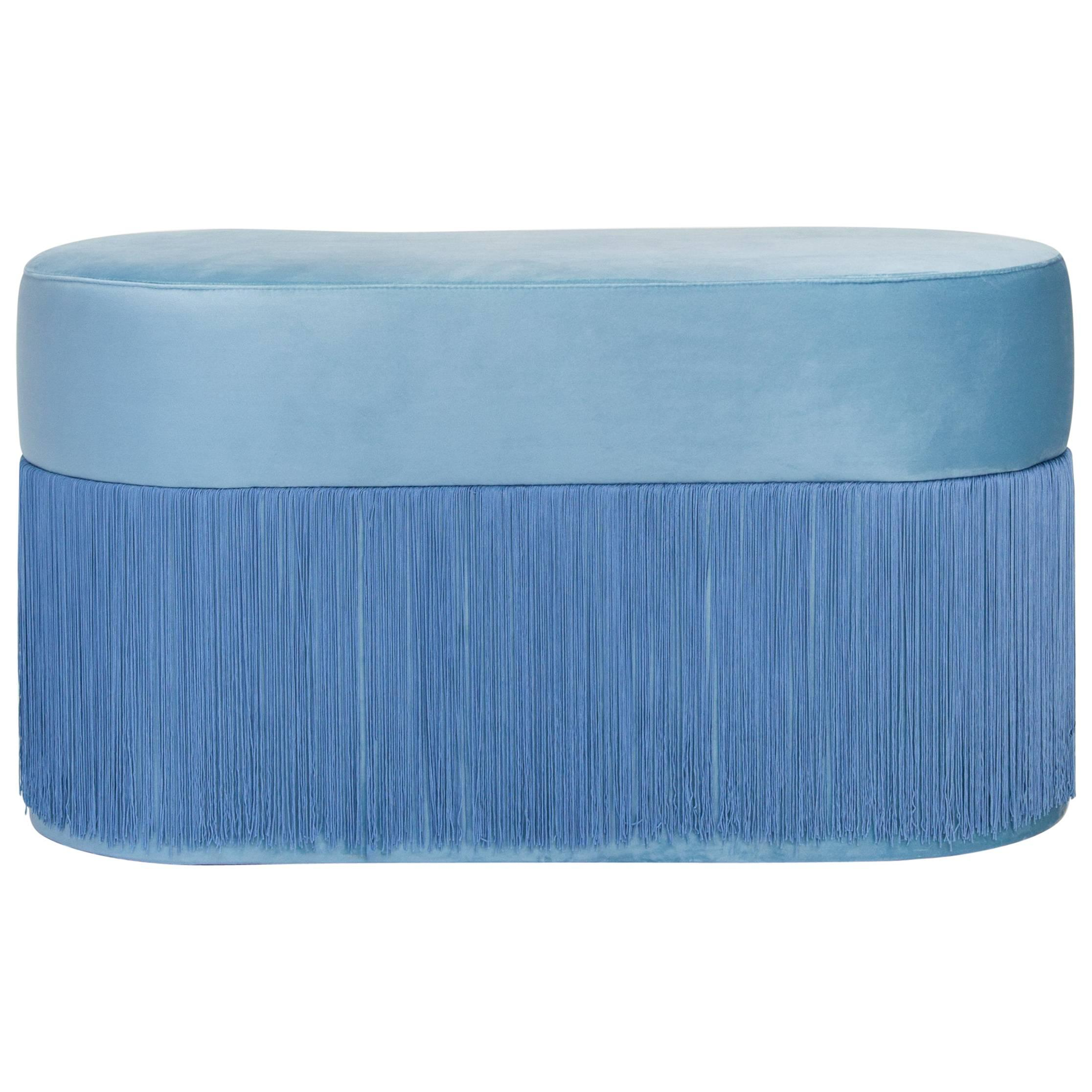 Pouf Pill Large Blue in Velvet Upholstery with Fringes