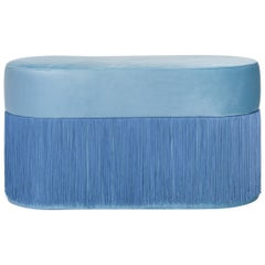 Pouf Pill Large Blue in Velvet Upholstery with Fringes