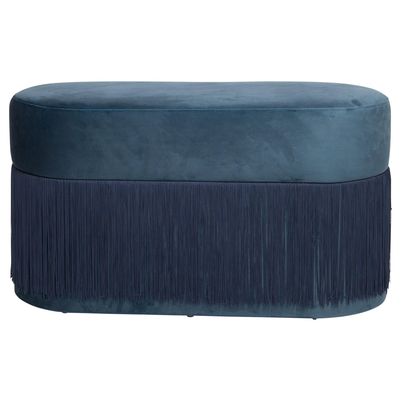 Pouf Pill Large Blue Navy in Velvet Upholstery with Fringes