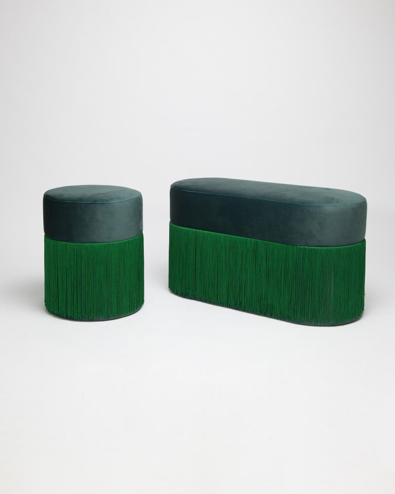 Other Pouf Pill Large Emerald Green in Velvet Upholstery with Fringes For Sale